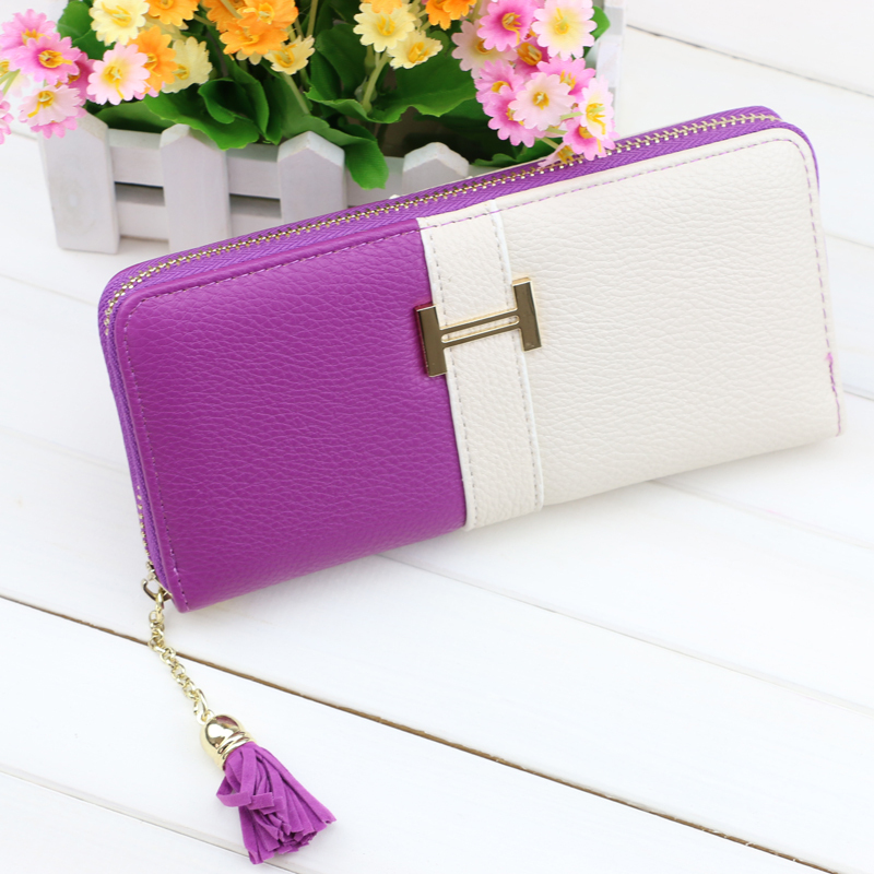 Wallet zipper long Wallet Women Fringe Purse Wrist Clutch Zipper leather Card Slot Evening Party Bag carteira feminina(China (Mainland))
