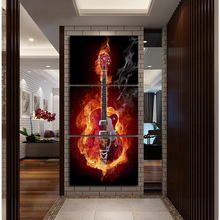 Music Art 3 Panel Wall Painting Modern Home Decors Black Burning Guitar Pop Art Pictures Decorn On Canvas Painting Printed A052(China (Mainland))