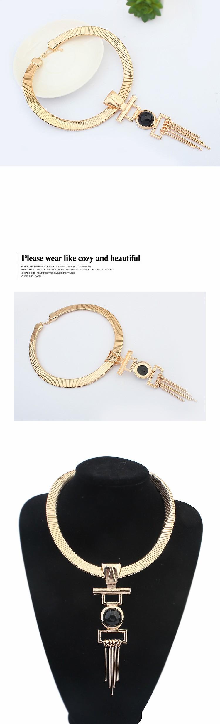 2015 бренд моды улице избили звезд панк личности преувеличения покрытием золота большой кисточкой колье колье заявление ювелирные изделия pd34