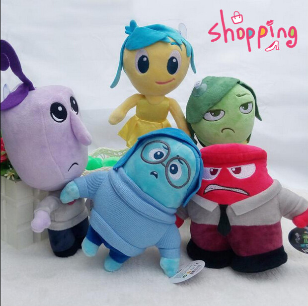 2015 Hot 5pcs/lot Pixar Movie Inside Out Plush Doll High Quality Anger Joy Fear Disgust Sadness Stuffed Toy Children Gift