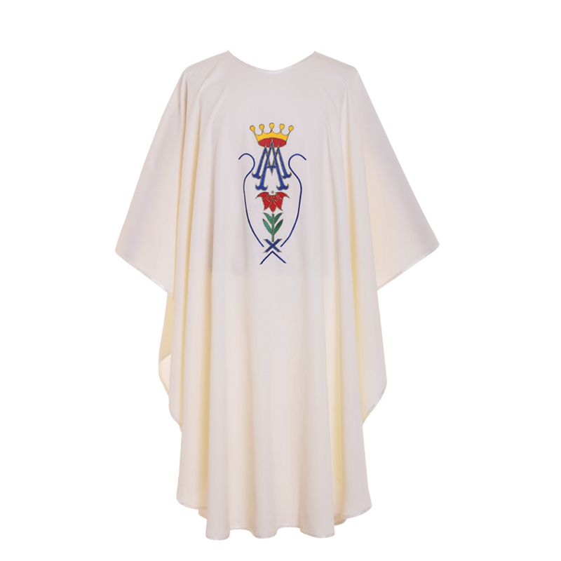 Holy White Crown Pattern Embroidered Catholic Church Priest Chasuble Vestments(China (Mainland))