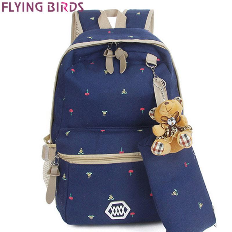 FLYING BIRDS! 2015 new women School bag backpack canvas bags Backpacks travel bags high quality shoulder bag LS5287<br><br>Aliexpress