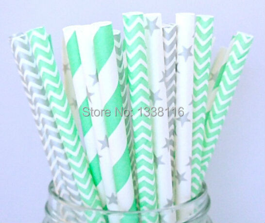 Free Shipping 400pcs Silver and Mint Green Paper Straws Mix 4 Patterns,Party Supplies Paper Drinking Straws wholesale(China (Mainland))