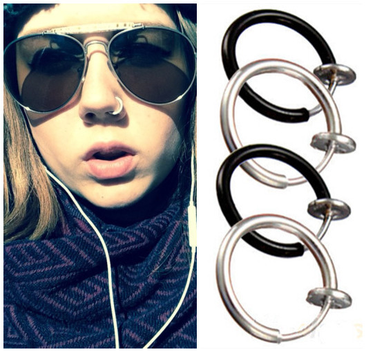 acheter goth septum style punk faux piercing clip sur hoop boby lip anneaux de. Black Bedroom Furniture Sets. Home Design Ideas