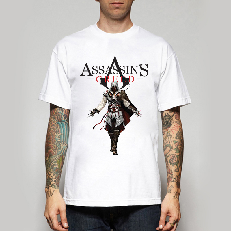 Free Shipping Hot Game Assassin's Creed T Shirt Logo Print Assassins Creed T-shirt Mens Game Tshirt Funny Cool Print Top Tees(China (Mainland))