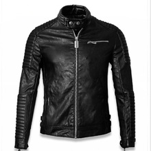 2015 new men's leather jacket collar short paragraph Slim loose-fitting men's leather motorcycle jacket Half Winter Skull Top(China (Mainland))