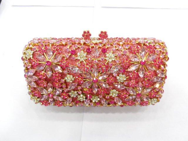 8138-TF Crystal Floral flower Wedding Bridal Party Metal Evening purse clutch bag handbag case<br><br>Aliexpress