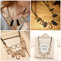New Women Design Fashion Beads Enamel Bib Leather Braided Rope Chain Golden Necklaces pendants