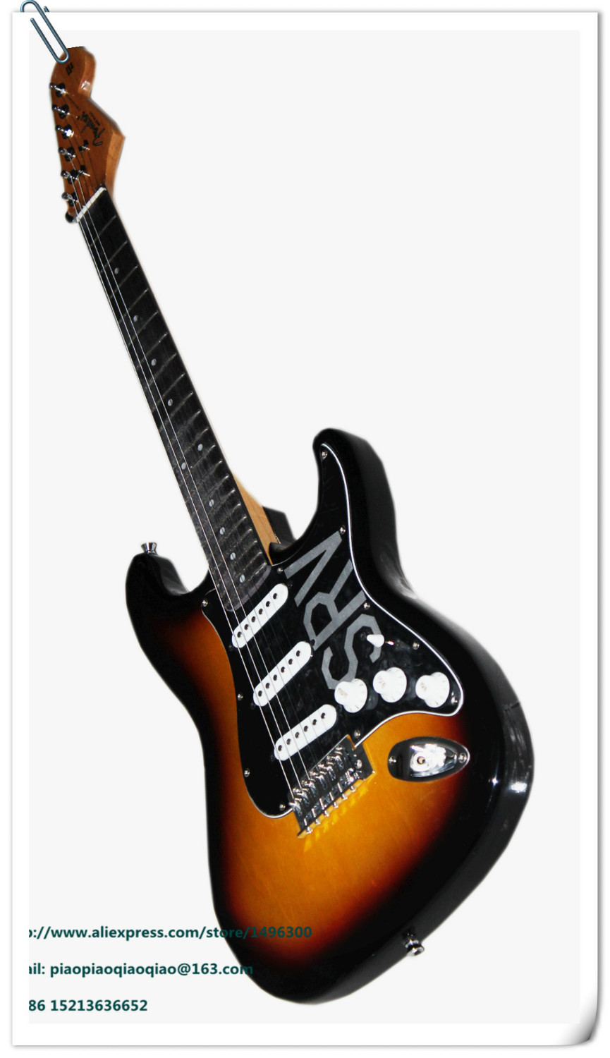 Free shipping popular electric guitar black orange with a hard case 4(China (Mainland))
