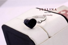 Italina Rigant Black Heart Ring Real Gold Plated Austrian Crystal Women Ring Jewelry