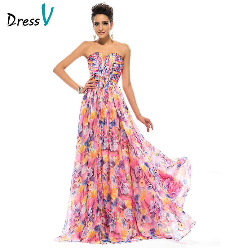 Summer long print prom dresses sweetheart floral a line for Formal summer dresses for weddings