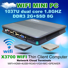 Network cloud terminal X3700 WIFI RAM 2G SSD 8G Thin client video Mini pc support Win7/WIN8 OS HTPC Home Computer with Dual Core