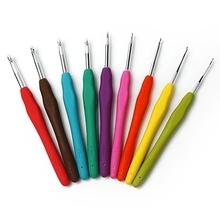 9 PCS/Set Colorful Knitting Needles TPR Soft Rubber Handle Aluminum Crochet Hooks For Knit DIY Craft Loom Tool Weaving Kit Plait(China (Mainland))
