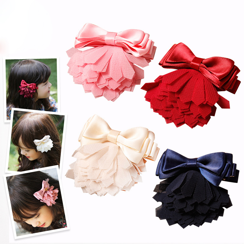 2015 Baby Fashion mutli-layers Petals Bow Knot Hairpins Trendy Princess Hair Clips Toddler Bow Hair Grips 30pcs/lot(China (Mainland))