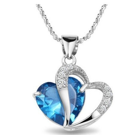Multi-Color Heart Jewelry For Women Platinum plated CZ Pendant Necklace With Chain Necklaces & Pendants