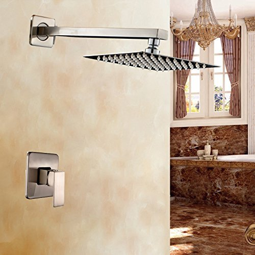 "Фотография Brushed Nickel Single Handle Mixer Bathroom Shower Set 8"" Rainfall Shower Head"