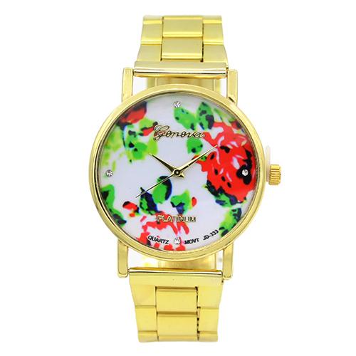 2015 New Womens Stainless Steel Dress Wristwatches Designed Geneva Rose Flower Dial Quartz Analog Watch<br><br>Aliexpress
