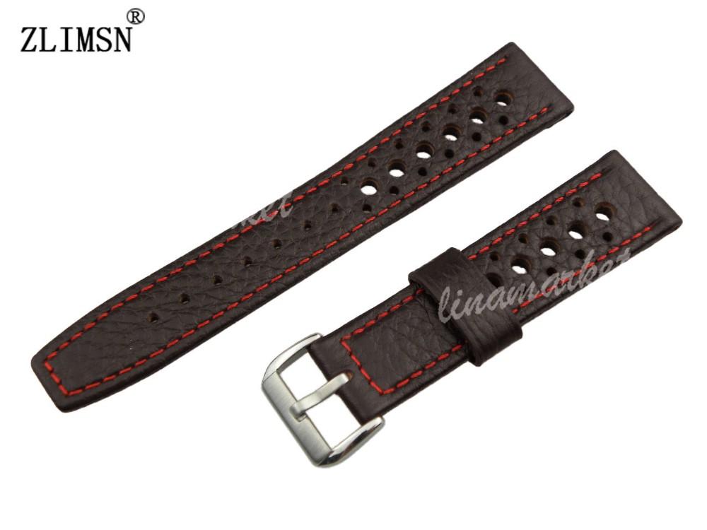 100% Genuine Leather Dark Brown 22mm MEN red line holes Watch band Strap belt Watchbands(China (Mainland))