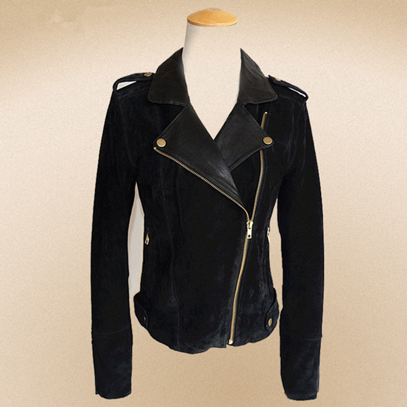 women's slim fit motorcycle leather jacket black suede pigskin patch sheepslin collar fashion leather jacket lady biker jacket(China (Mainland))