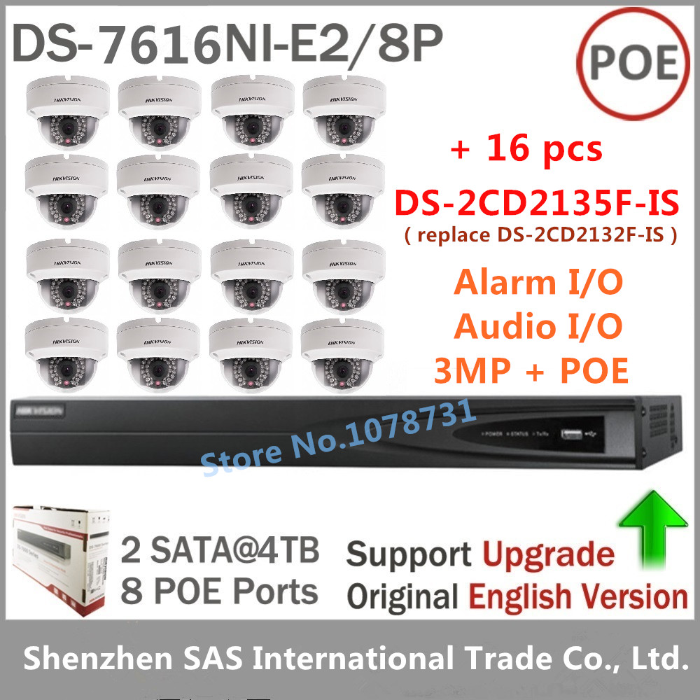 DS-7616NI-E2/8P + 16pcs DS-2CD2135F-IS Mini Dome Camera Replace of DS-2CD2132F-IS Support PoE Audio and Alarm