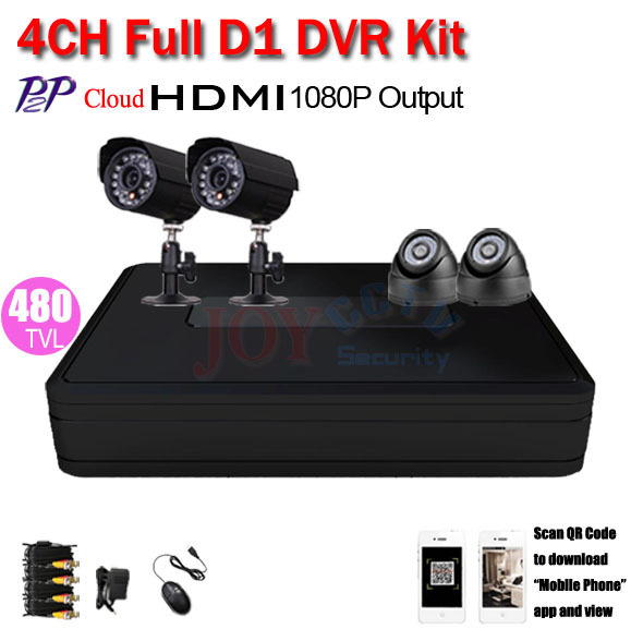 H.264 full D1 4ch CCTV DVR Kit 480TVL Outdoor video surveillance System HDMI 1080P Video Recorder home security camera system(China (Mainland))