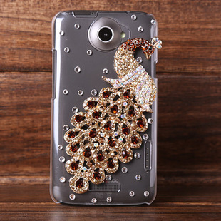 Top quality 3D Peacock Rhinestone case for HTC oneX back cover for htc with 2 free gift free shipping