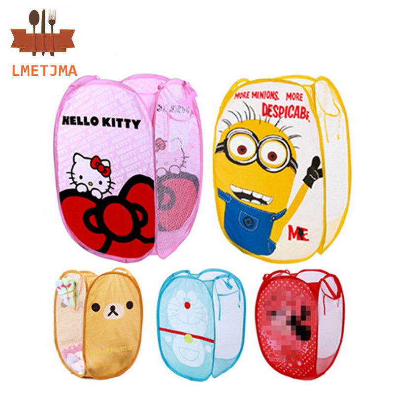 LMETJMA Minions Hello Kitty Folding Dirty Clothing Laundry Bucket Storage Basket Children's Toys Shoe Sundries Storage Organizer(China (Mainland))