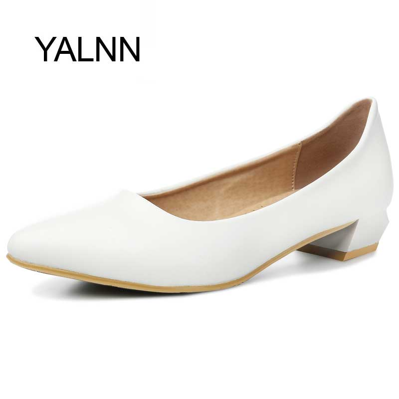 YALNN Spring Slip-on Basic Women Pumps Shoes 3CM Low Square Heels Pointed Toe for Concise Dress Shoes Women(China (Mainland))