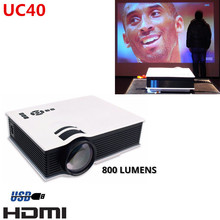 IN stock! UC40 800 Lumens Mini LED Projector Home Cinema Theater Support AV/SD/HDMI/USB Multi Language free DHL to Korea(China (Mainland))