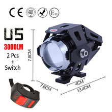 1 pair 125W Motorcycle Headlight Motorbike spotlight 3000LM Motos CREE U5 LED Driving Spot Head Light