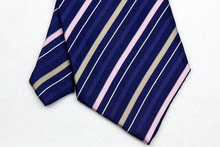 NT0090 Blue Pink Stripe Multicolor Smooth Jacquard Woven Classic Silk Polyester Man s Business Wedding Luxury