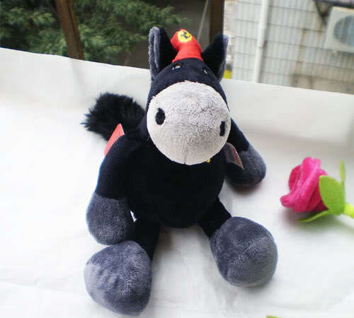 BG Black Horse Stuffed Animals 28CM soft toy baby dolls plush toy n119(China (Mainland))