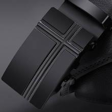 NO. ONEPAUL брендовый Модный черный ремень из натуральной кожи с автоматической пряжкой мужские ремни из коровьей кожи 3,5 см ширина WQE789(China)