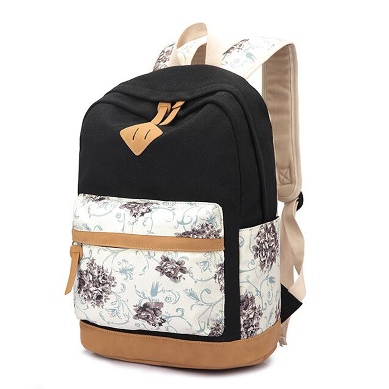 Brand Quality Floral Pattern Canvas Bag School Backpack Bags for Teenagers Girls Laptop Bag Printing Backpack Women Backpack<br><br>Aliexpress