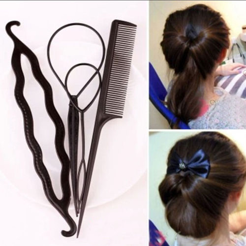 4Pcs/Set Hair Stick Styling Tools Pull Hair Pins Double Hook Plate Made Needle Comb Donut Big Hair Accessory Hairdresser Head(China (Mainland))