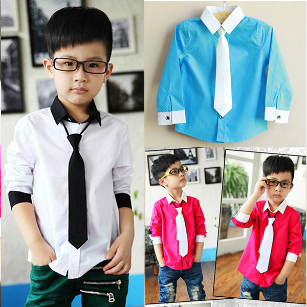 New Kids Boys Dress Shirt Toddler Stand Collar With Solid Necktie Set Tops Size 3-8Y(China (Mainland))