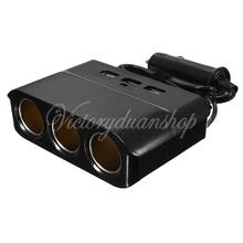 New 3 Way Auto Car Cigarette Lighter Socket Splitter 3 USB Charger Power Adapter Black Drop Shipping(China (Mainland))