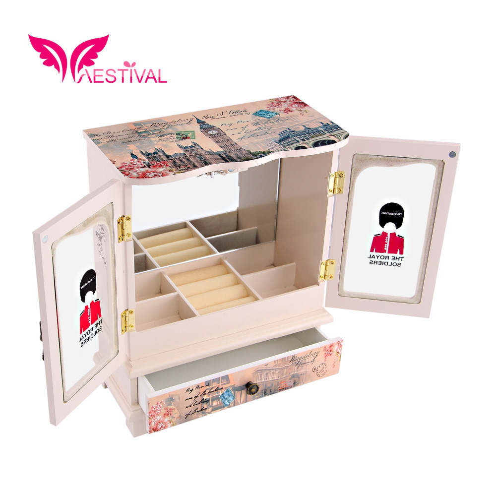 2015 New Arrival,Jewelry Brand Butterfly Flower Pattern Wooden Large Jewelry Box Closet with Fashion Paper Overlay Free Shipping(China (Mainland))