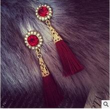 2015 New Arrive National Style Fashion Rhinestone Tassel Dangle Earrings Drop Earrings For Women Brincos   ED067(China (Mainland))