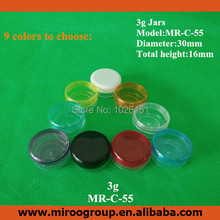Free Shipping 100PCS 3g PS clear empty cream jar cosmetic container sample jar plastic bottle cosmetic packaging (9 color lids)