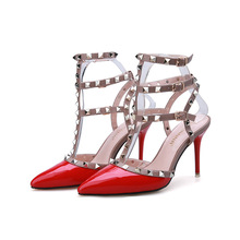 Europe Spring Summer New Sexy Pumps T Strap High Heels Shoes for Women Fashion Sandals Thin