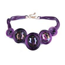 HanCheng New Fashion skórzana linka utworzono kryształowy drut Choker naszyjnik kobiety naszyjniki Handmade komunikat biżuteria kołnierz bijoux(China)