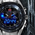 Luxury Brand TVG Stainless Steel Watch Men military Blue Binary LED Waterproof Mens sports Digtal Watches