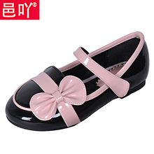 Children shoes female child leather bow princess single shoes 2013 autumn girls shoes(China (Mainland))