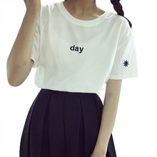 New 2015 Summer fashion t-shirt day and night letter sun and moon printed short-sleeved  loose t shirt  women tops free shipping