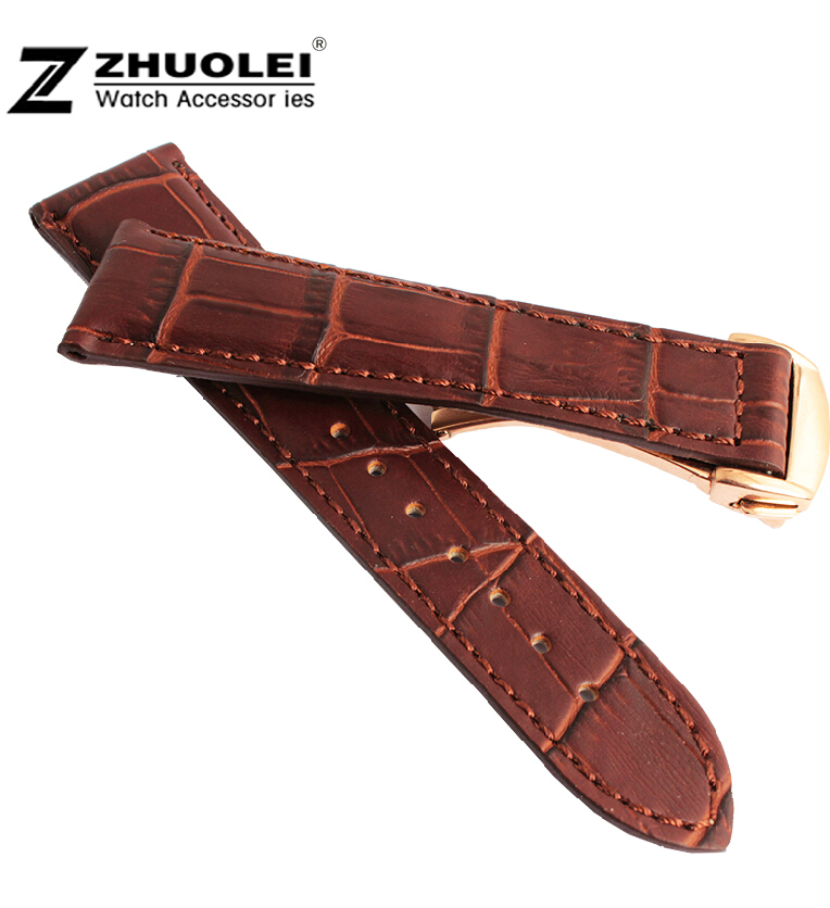 19mm 20mm 22mm New High Quality Brown Crocodile Grain Genuine Leather Watch band Strap Bracelets Gold Stainless Steel Clasp<br><br>Aliexpress