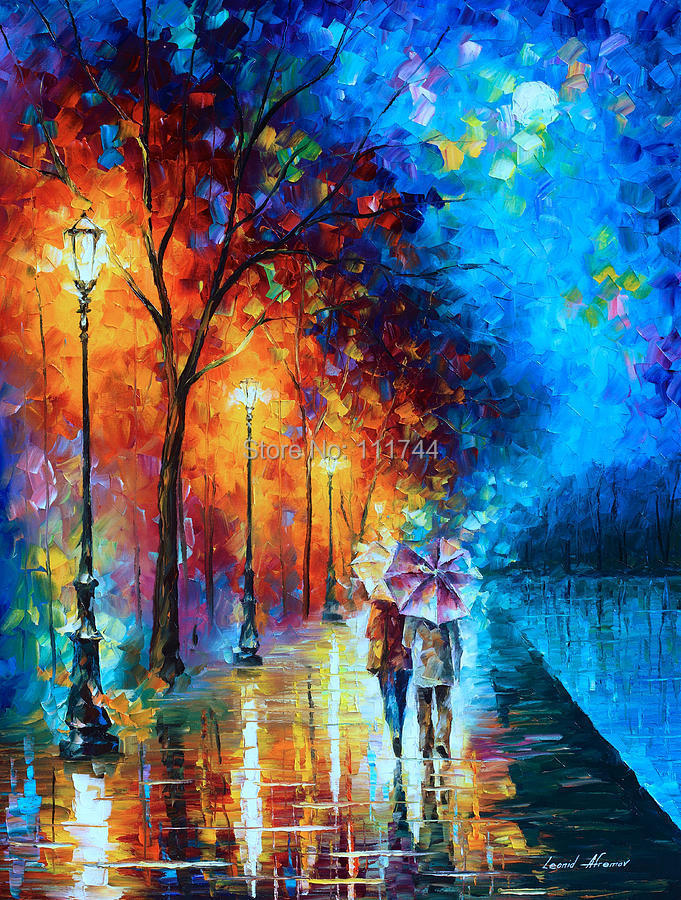 Love By The Lake- Palette Knife Oil Painting On Canvas,Modern Landscape painting,Wall Art,High quality,Hand-painted,(China (Mainland))