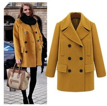 Free shipping new witer women slim double-breasted blouses solid v-neck wool long coat jacket (S–XL)