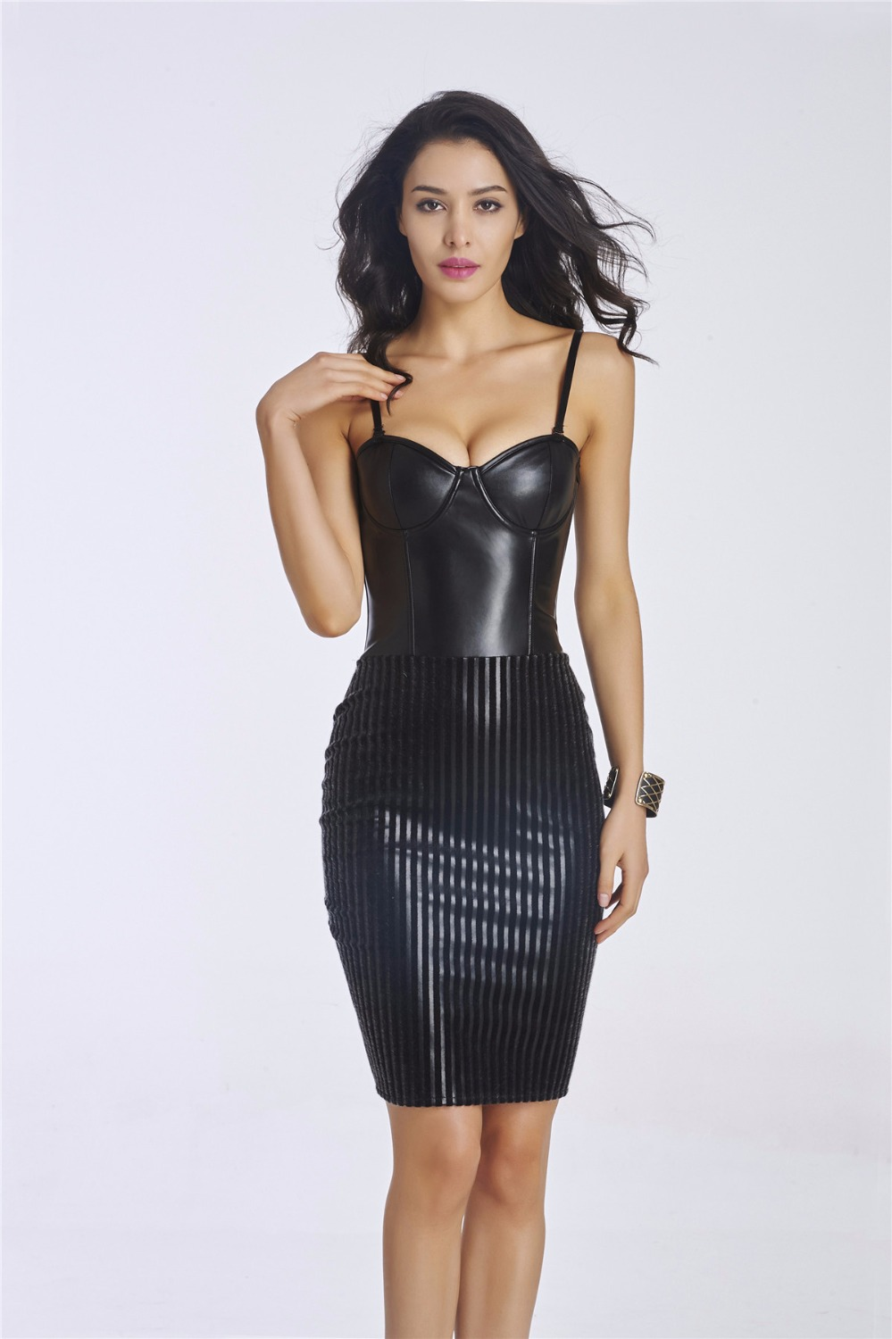 popular leather corset dressbuy cheap leather corset