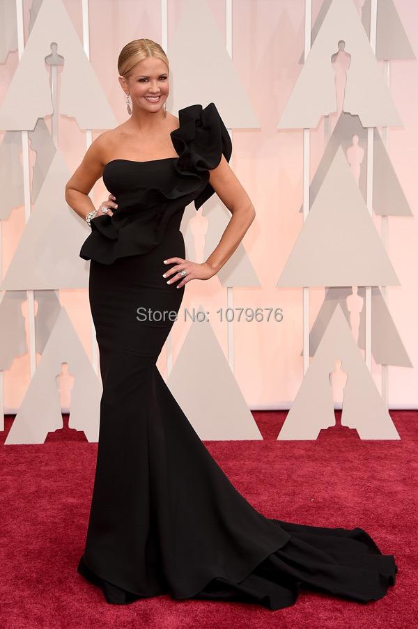 Elegant Ruffle One Shoulder Black Mermaid Dresses Evening Celebrity Nancy O'Dell Oscar Red Carpet Dress Gown 2015